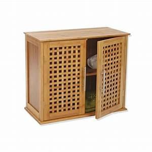 Meuble Bambou Salle De Bain : meuble haut de salle de bain bambou meuble haut eminza ~ Teatrodelosmanantiales.com Idées de Décoration