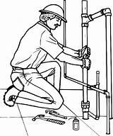Plumber Coloring Pipe Drawing Broken Replacing Sketch Drawings Getdrawings Sink Template Teacher sketch template