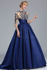 edressit blue long sleeves embroidery beaded evening gown With robe pour femme ronde elegante