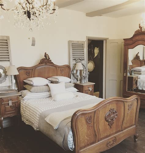 french oak louis xv double bed   painted