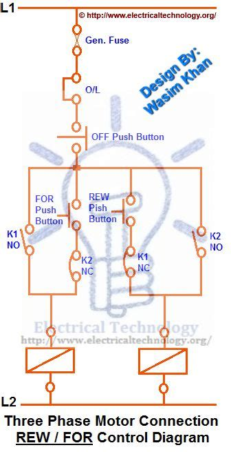 rev for three phase motor connection diagram electrical technology