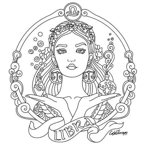 libra zodiac beauty colouring page color therapy