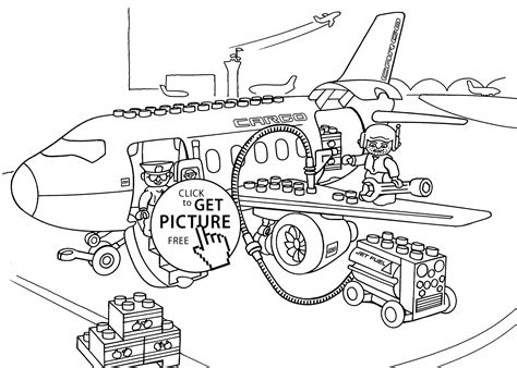Lego Airport Coloring Page For Kids, Printable Free. Lego