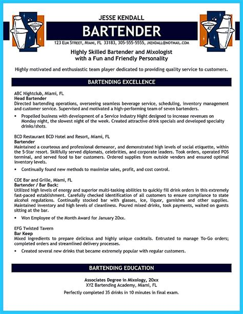 Bartending Resume No Experience by Bartendending Responsibilities Resume Sle And