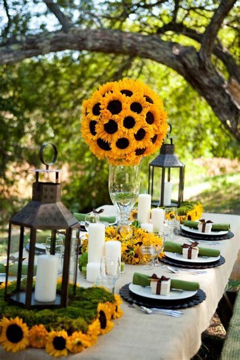tischdeko mit sonnenblumen ueber  sonnige vorschlaege