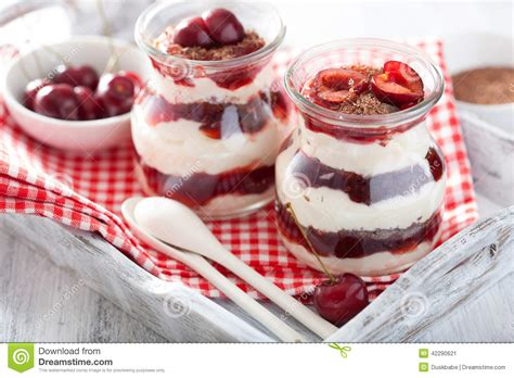 healthy dessert with creme fraiche jam and chocolate stock image image 42290621