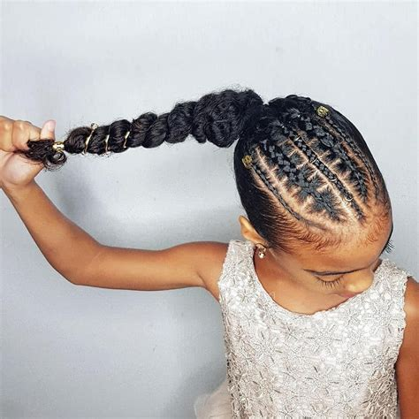faux stitch braids ponytail hairstyles for curly little