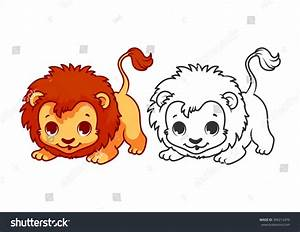 Baby Lion Cartoon Black And White