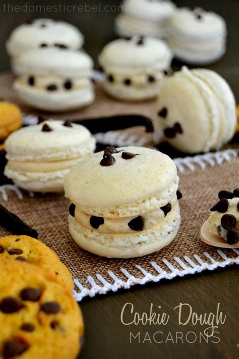 chocolate chip cookie dough macarons  domestic rebel