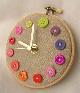 Bastelideen Mit Knpfen Uhr Nhen Originelles Design