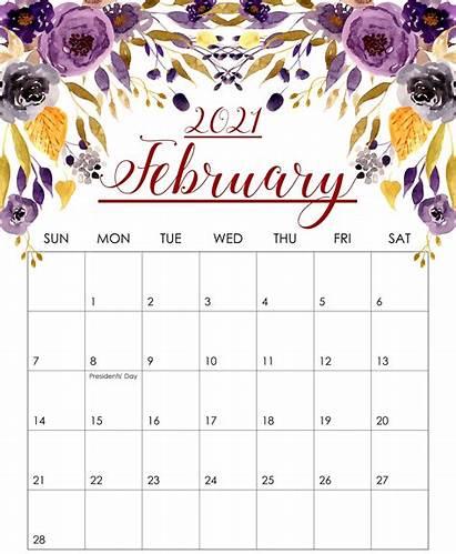 Calendar February 2021 Printable Floral Monthly Blank