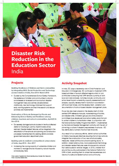 disaster risk reduction   education sector india