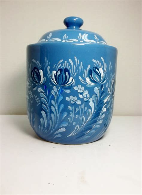 ceramic canisters for kitchen blue stoneware ceramic canister kitchen storage kitchen