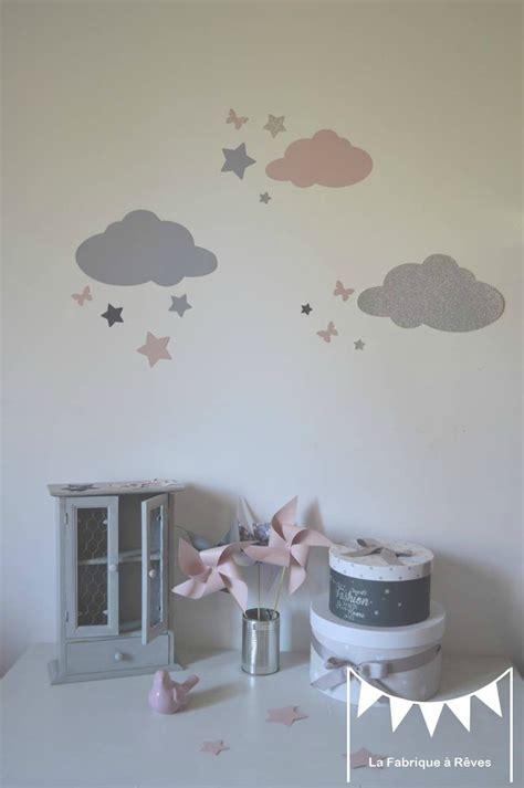 chambre fille etoile stickers décoration chambre fille bébé nuage étoiles