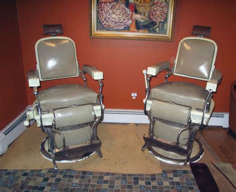Matching Pair Of Early 1900's Koken Barber Chairs For Sale Antique Auctions In Melbourne This Weekend Gazelle Bicycles Oriental Porcelain Marks Tea Pot Set Chinese Dining Table Beer Coolers Replica Furniture Sydney Silver And Enamel Cufflinks