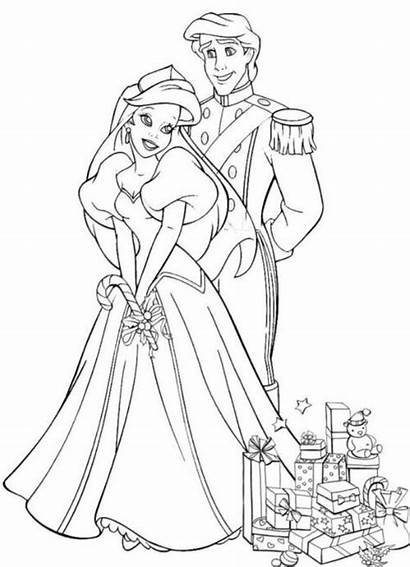 Coloring Disney Pages Ariel Christmas Princess Printable