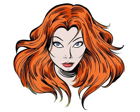 Staring Redhead Cartoon Girl Illustration Character Stock