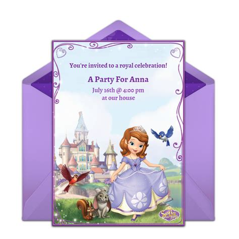 sofia   invitations princess themed