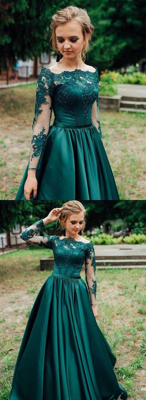 Green satin lace long prom dress, green evening dress ...