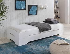 Bett 90x200 Weiß Massiv : stapelbett g stebett bett 90x200 kiefer massiv weiss zwei einzelbetten in m bel wohnen m bel ~ Bigdaddyawards.com Haus und Dekorationen