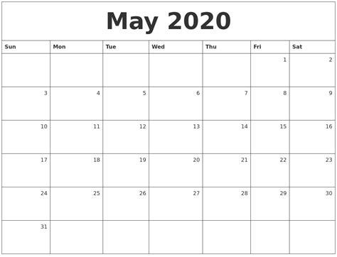 Printable 2020 Calendar With Weeks