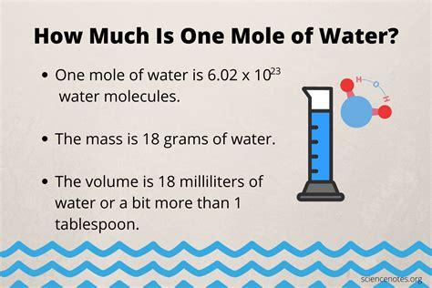 mole  water mass  volume