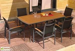 Salon De Jardin Textilene : table jardin bois exotique 182x106 6 fauteuils ~ Dailycaller-alerts.com Idées de Décoration
