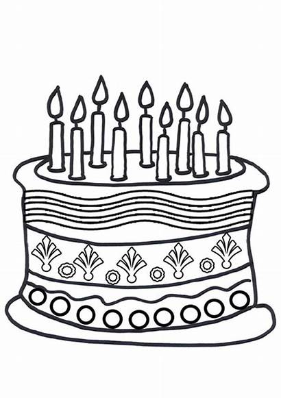 Cake Colouring Birthday Pages Sheets Activity Coloring