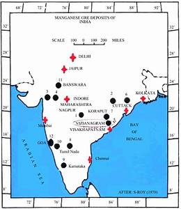 Map Showing Manganese Ore Deposits In India  1  Madhya