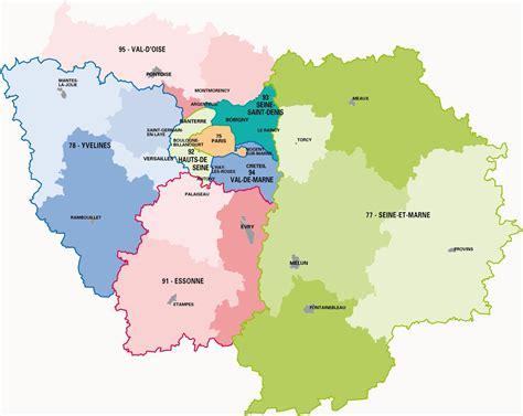 Carte Departement Parisien by Carte De L 206 Le De 206 Le De Carte Des Villes