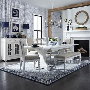 Cottage, White, Wood, Dining, Room, Set, 6, Pcs, 631