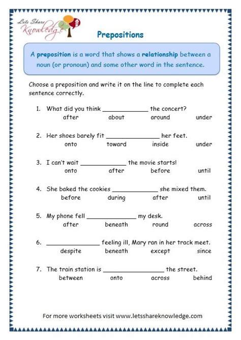 grade  grammar topic  prepositions worksheets