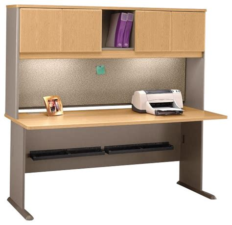 light oak computer desk bush series a 72 quot wood computer desk with hutch in light