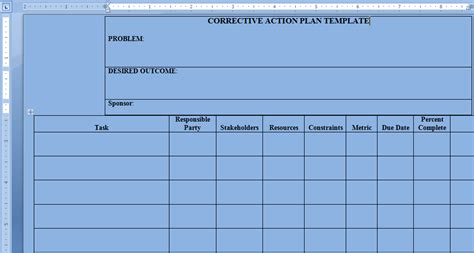 corrective action plan template word project management