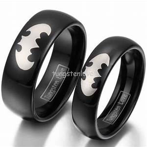 Hot black tungsten laser etched batman promise rings for Mens batman wedding ring