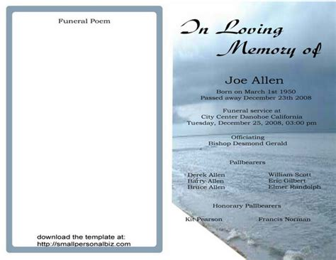 Free Printable Funeral Program Template 9 Best Images Of Free Printable Funeral Programs