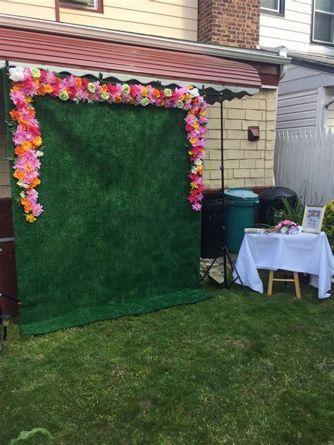 diy flower backdrop  cent store flowers  grass