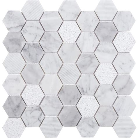 honeycomb mosaic floor tiles shop anatolia tile carrara honeycomb mosaic natural stone marble wall tile common 12 in x 12