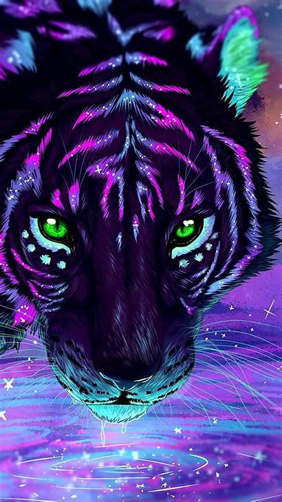 Tiger Purple Iphone Colorful Animal Wallpapers Painting
