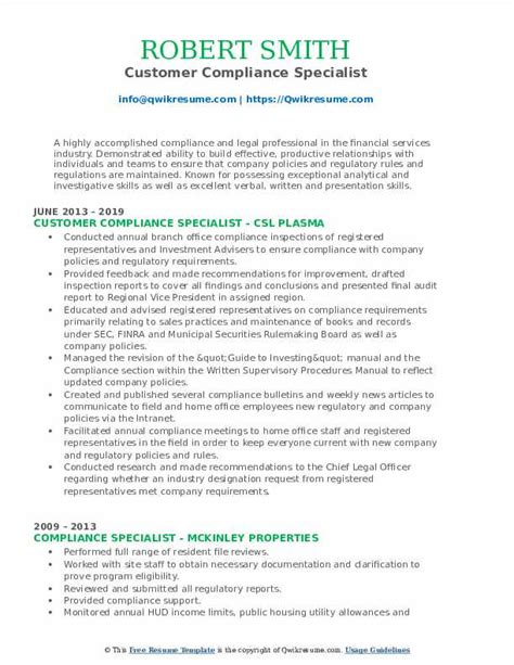 Compliance Specialist Resume by Compliance Specialist Resume Sles Qwikresume