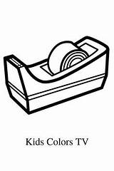 Coloring Pages Stapler Sharpener Drawing Scotch Pencil Easy Toddlers Glitter Printable sketch template