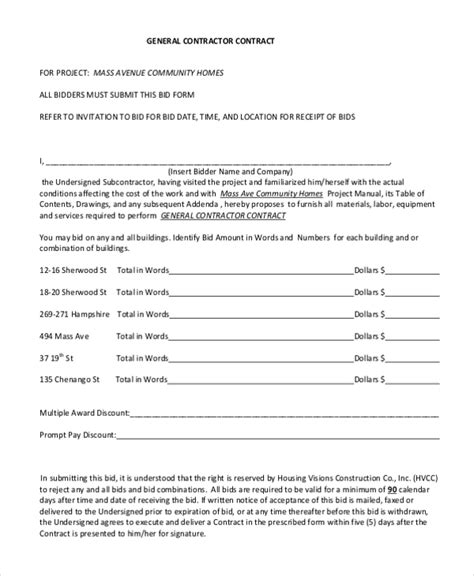 sample contractor contract forms