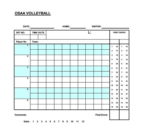 sample volleyball score sheets sample templates