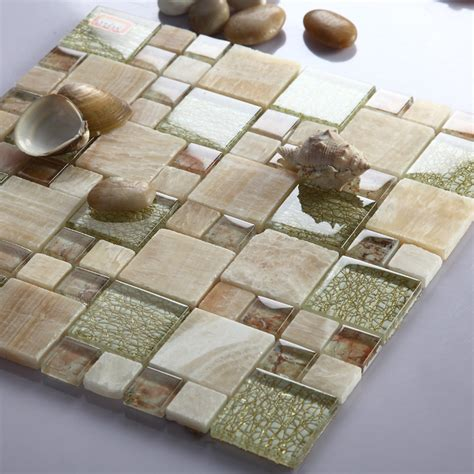 Stone and Glass Mosaic Sheets Square Tiles Natural Marble