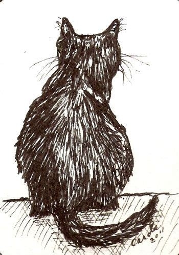 aceo original cat drawing cat  view