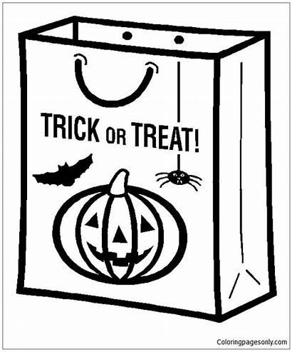 Trick Treat Bag Coloring Pages Worksheet Halloween