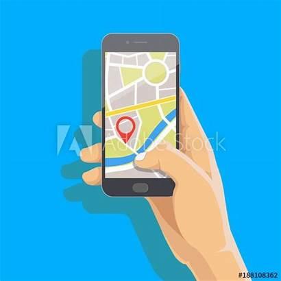 Cartoon Phone Gps Hand Mobile Vector App