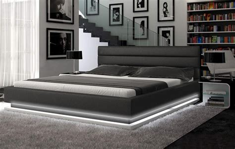 Infinity Contemporary Black Platform Bed W/ Lights