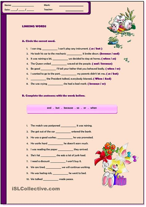 linking worksheets and workbooks linking words worksheet linking words