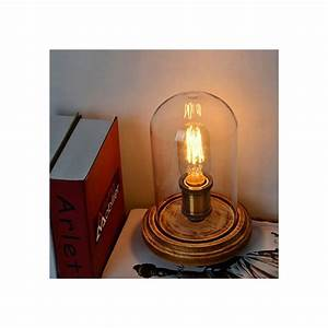 Modern fashion wood table lamp glass bell jar wooden table for Glass jar floor lamp